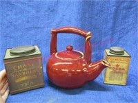 Red ceramic tea pot & (2) decorative tins