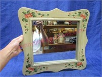 Flower painted wall mirror - 15in wide
