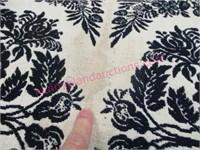 Old woven dark blue & white coverlet (80in x 76in)
