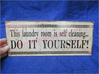 "metal ""laundry room"" sign"