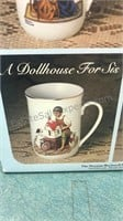 8pcs Norman Rockwell Collectors Mugs Trimmed in