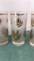 6pcs Vintage Libbey Glass Gold Leaf and Frosted