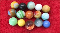 14 Vintage Glass Marbles and one appears to be