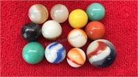 12 Vintage Glass Marbles