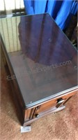 Wooden Side Table with Glass Top Drawer and