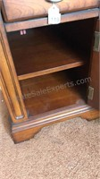 Wooden Side Table with Glass Top, Drawer and