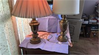 "2 Brass Table Lamps 33"" Tall marching bases"