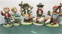 5 Vintage Porcelain Figures Made in Taiwan