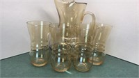Vintage Glass Picture and 4 Matching Glasses 9