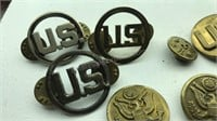 Collection of Vintage Military Pins and Buttons