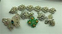 Vintage Bracelet, pins and earrings