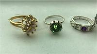 5 Vintage Costume Jewelry Rings