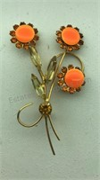 Vintage Orange Flower Design Pin and Clip on