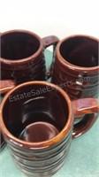 "Set of 6 Vintage USA Ceramics Mugs 6"" Tall"