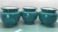 """3 Jayco Ceramic Pots 6"""" tall"""