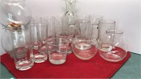Collection of Clear Glass Barware Mugs Carafe