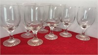"""8pc Glass Stemware 3 Etched Wine Glasses 7"""" Tall"""