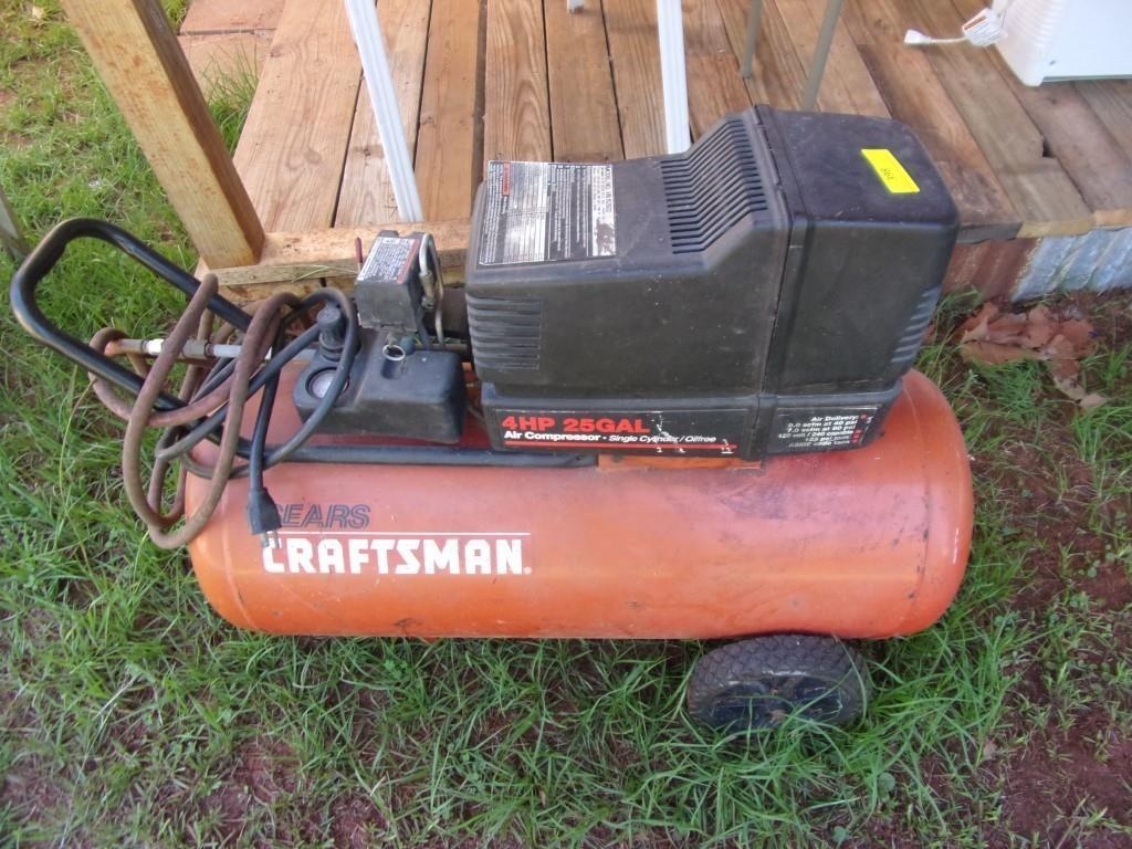 Craftsman 4 Hp 25 Gallon Air Compressor On Wheels Sas Auction Service