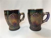 Carnival Glass Beaded Shell Design Mugs (2)