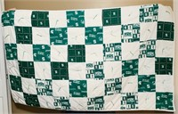 "Michigan State Spartans quilt, 4' 9"" x 2' 11""."