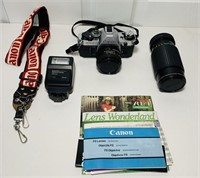 Canon AE-1 Camera, extra Lens, Papers, Carry Bag
