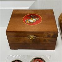 USMC Lot, 2 Wood Boxes, Misc Awards, etc