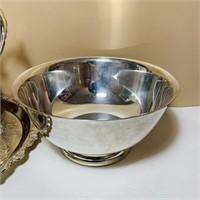 Silver Plate Pitcher, Tray, Bowl, creamer