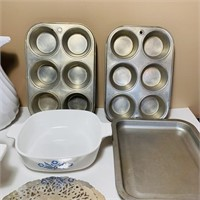 Corning Ware, Pitcher, Muffin Pans,etc