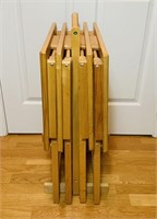 Set of 4 Oak TV Trays