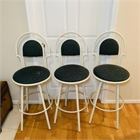 "3 Metal Swivel Seat Bar Stools, Seat is 28"" high,"