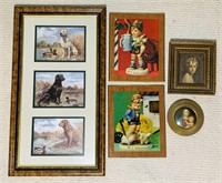 Wall Pictures, 2 Authentic Hummel, Dog Pic