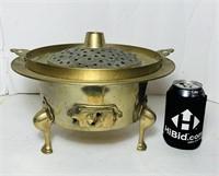 "Brass Burning Pot, 12"" wide x 7"" tall"