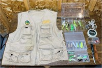 Fishing Lot, Vest and Lures, Knife