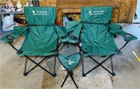 2 Green Chairs w/ Bags, 1 small chair
