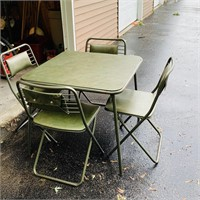 Card Table and 4 Chairs, Cisco,Green