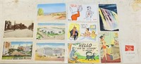 10 old Post Cards, Match book advertisement