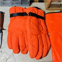 Knife/Sheath, 2 pair of orange Gloves