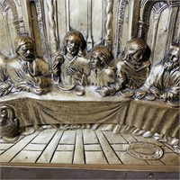 "Old Copper Last Supper Art 25"" x 19"""