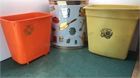 3 Vintage Wastebaskets 1 Weibro Stamped Metal and