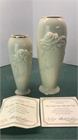"""2 Lenox Glass Rose Blossom Vases 8 & 6"""" tall with"""