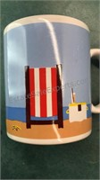 Set of 4 Ceramic Beach Design Mugs