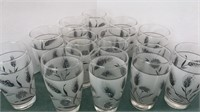 Set of 12 Vintage Libbey Glass Silver / Frosted