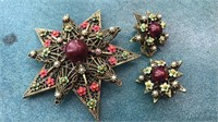 Vintage Pin and Clip on Earrings Matching Set
