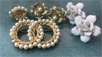 Vintage Trifari Pin One Earring and other