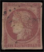France Stamps #9 Used 1849 horizontal tear CV $650