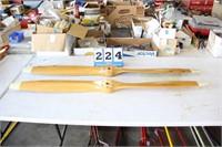 Pair Vintage Wood Airplane Propellers