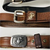 4 Men's US Marine Corps Learher Belts, Size 41/42