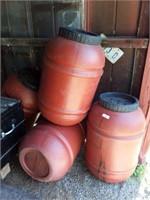 Four Plastic Barrels