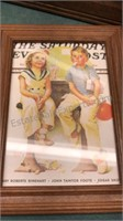Framed Needlepoint and Norman Rockwell Prints