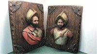 2 Vintage Spanish Conquistadors 3D Chalkware Wall